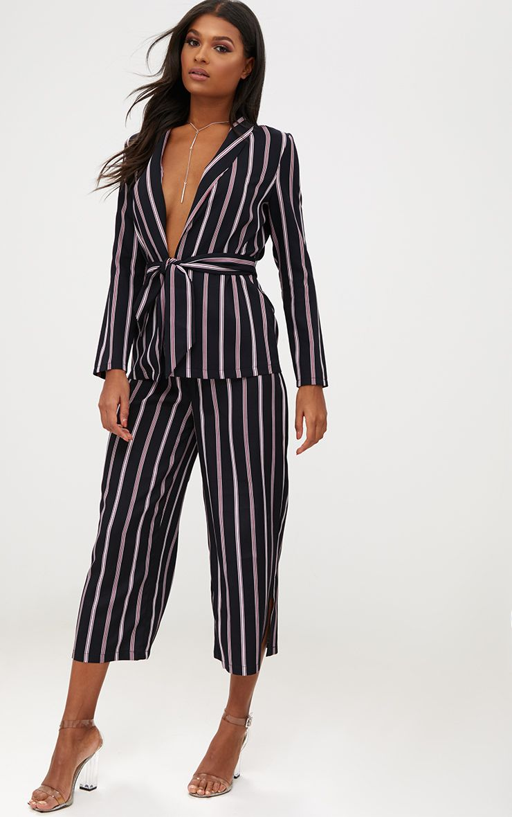 Navy Contrast Stripe Belted Blazer