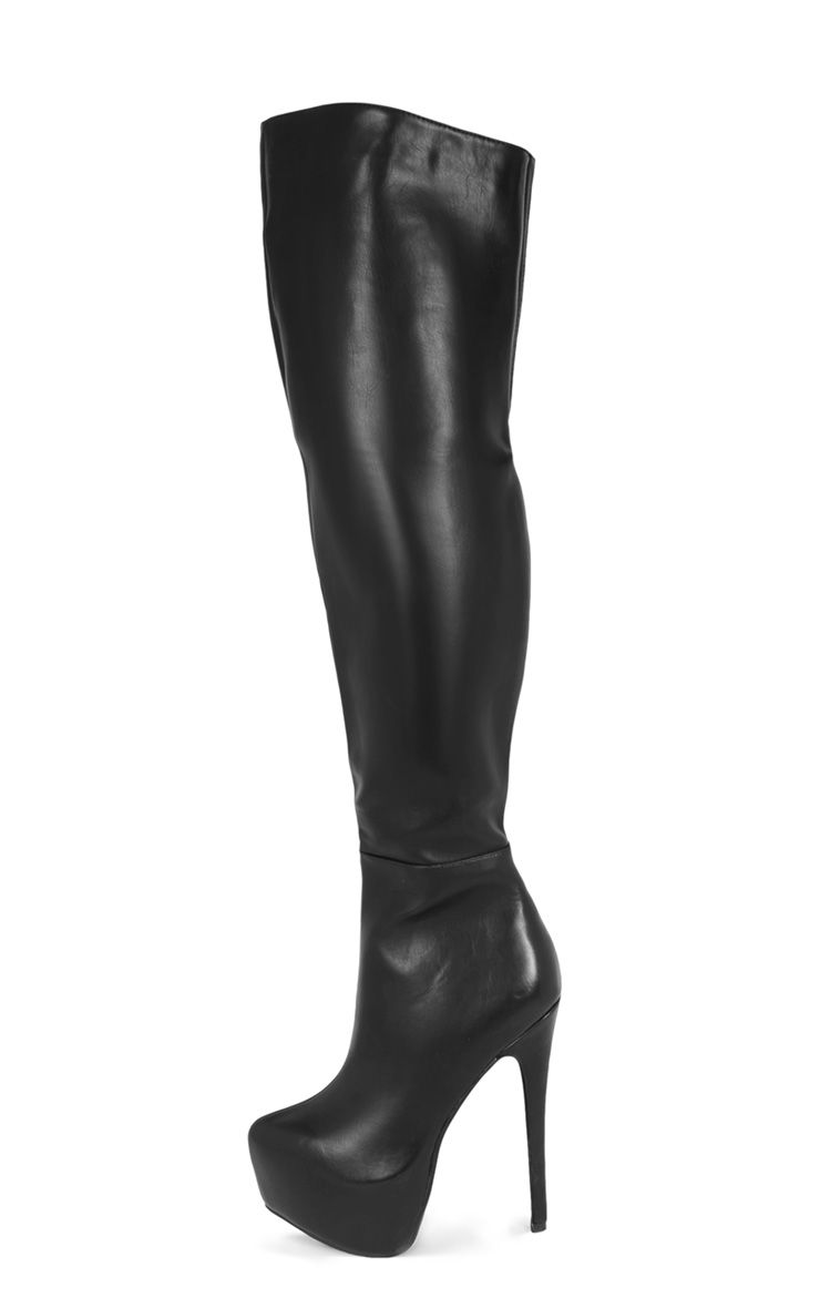 Gemma Black Over The Knee Platform Boot 1