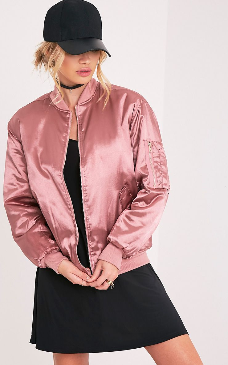 Cruz Rose Satin Oversized Bomber Jacket