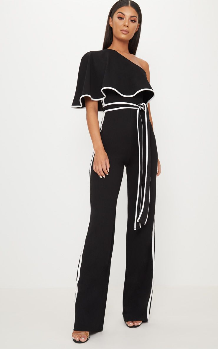 Black Bandeau Binded Tie Waist Detail Jumpsuit
