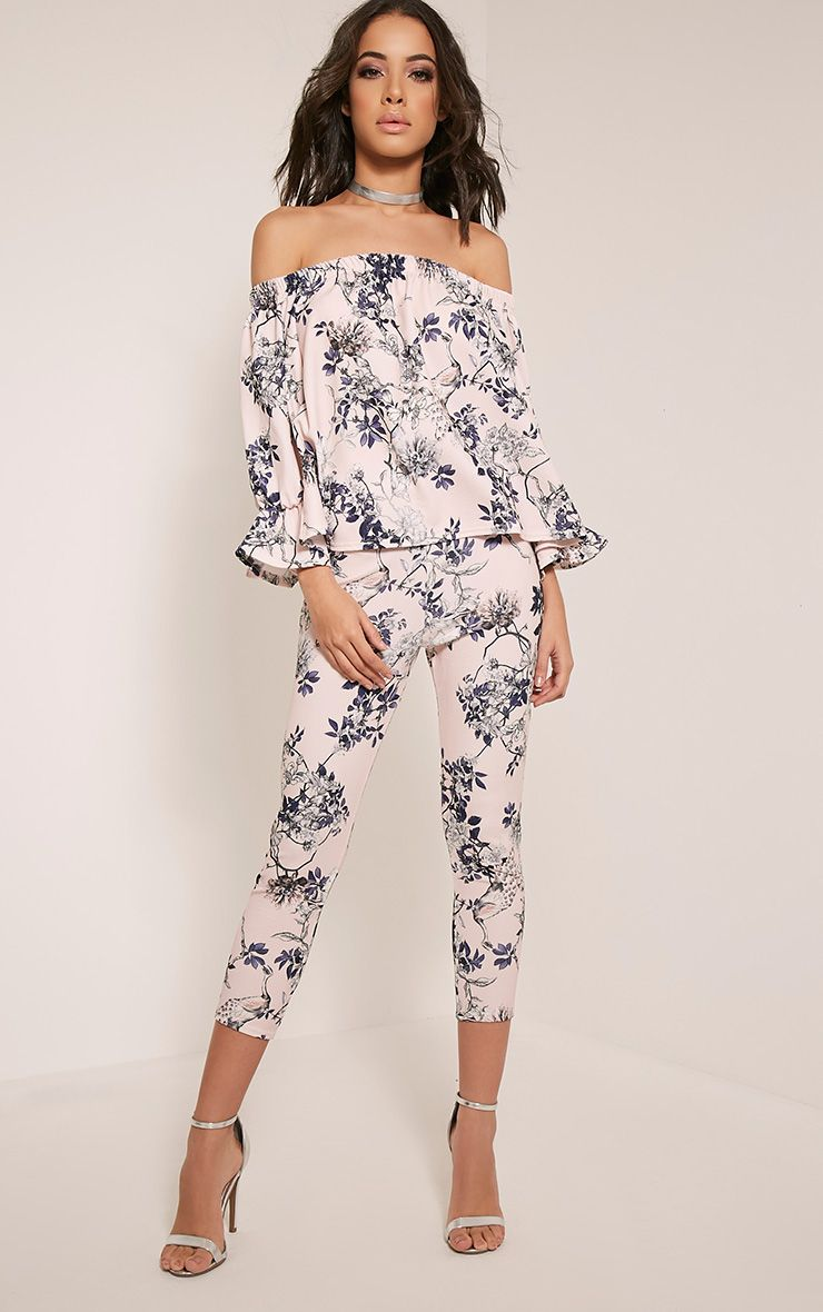 Natillia Dusty Pink Floral Cropped Trousers 1