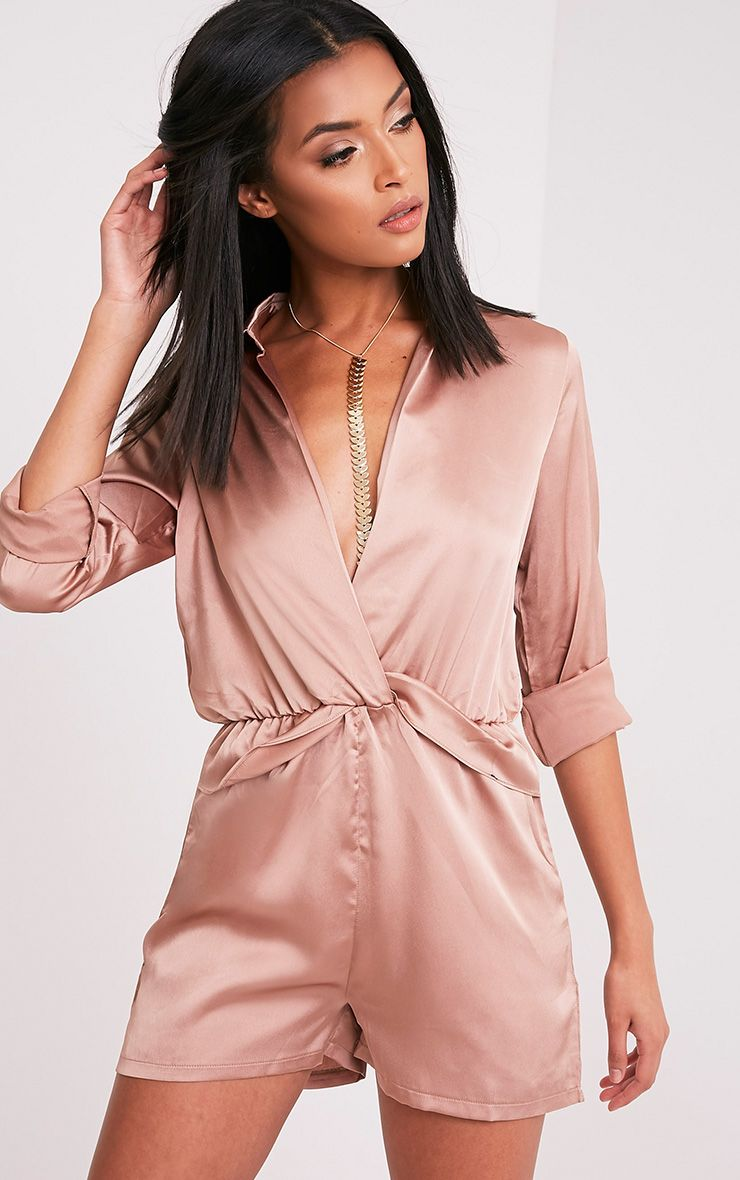 Anora Taupe Satin Plunge Playsuit