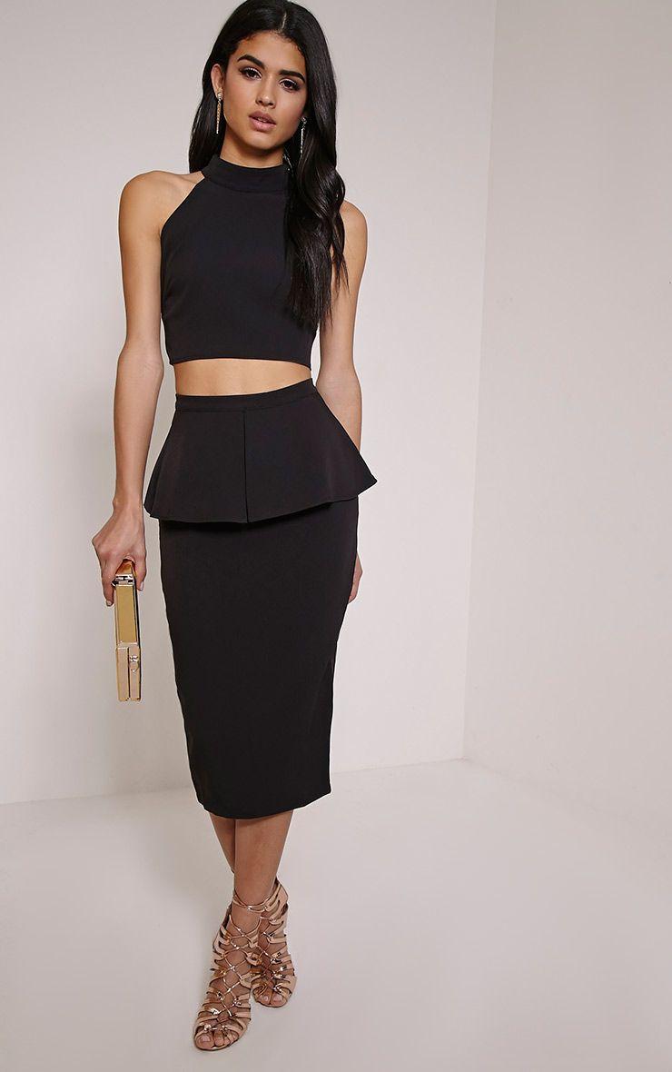 Branwen Black Peplum Midi Skirt 1
