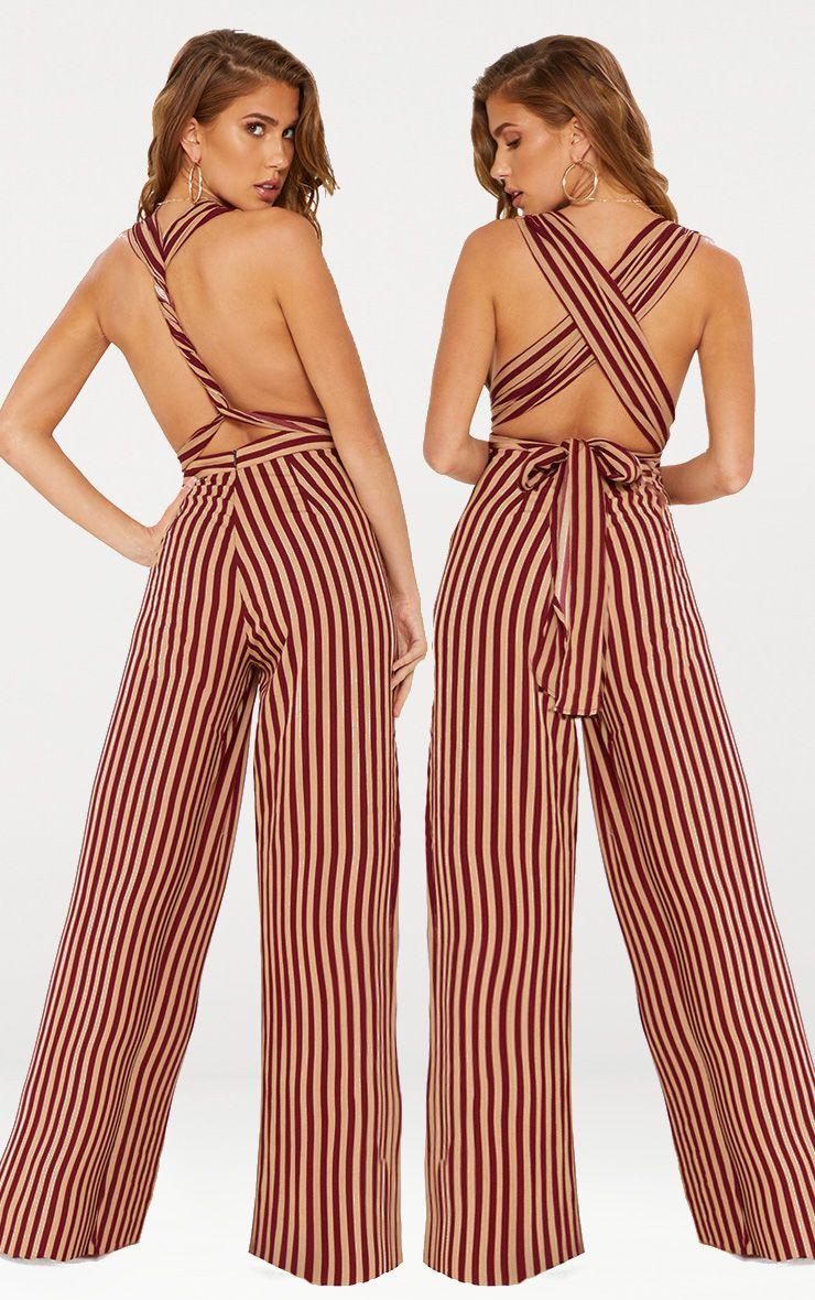 Camel Stripe Tie Waist Jumpsuit