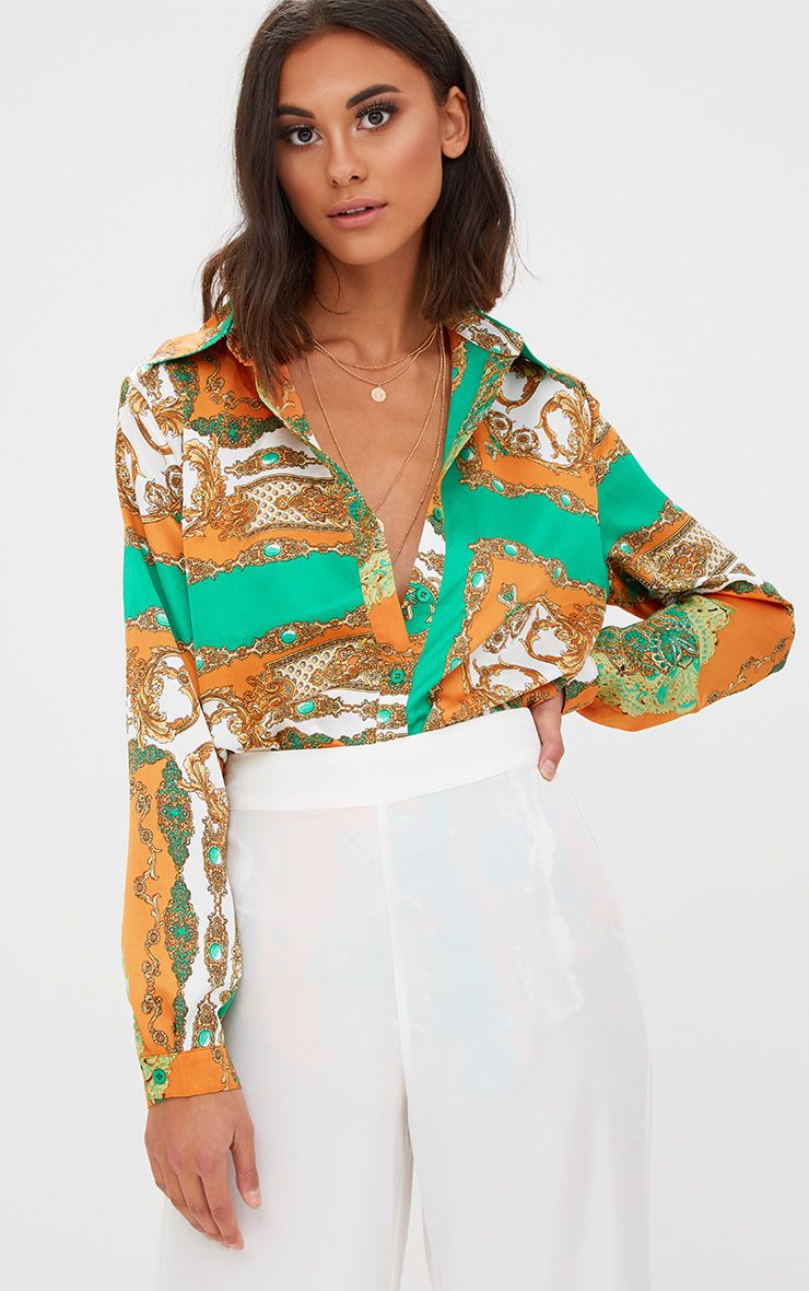 Orange Chain Print Oversized Shirt