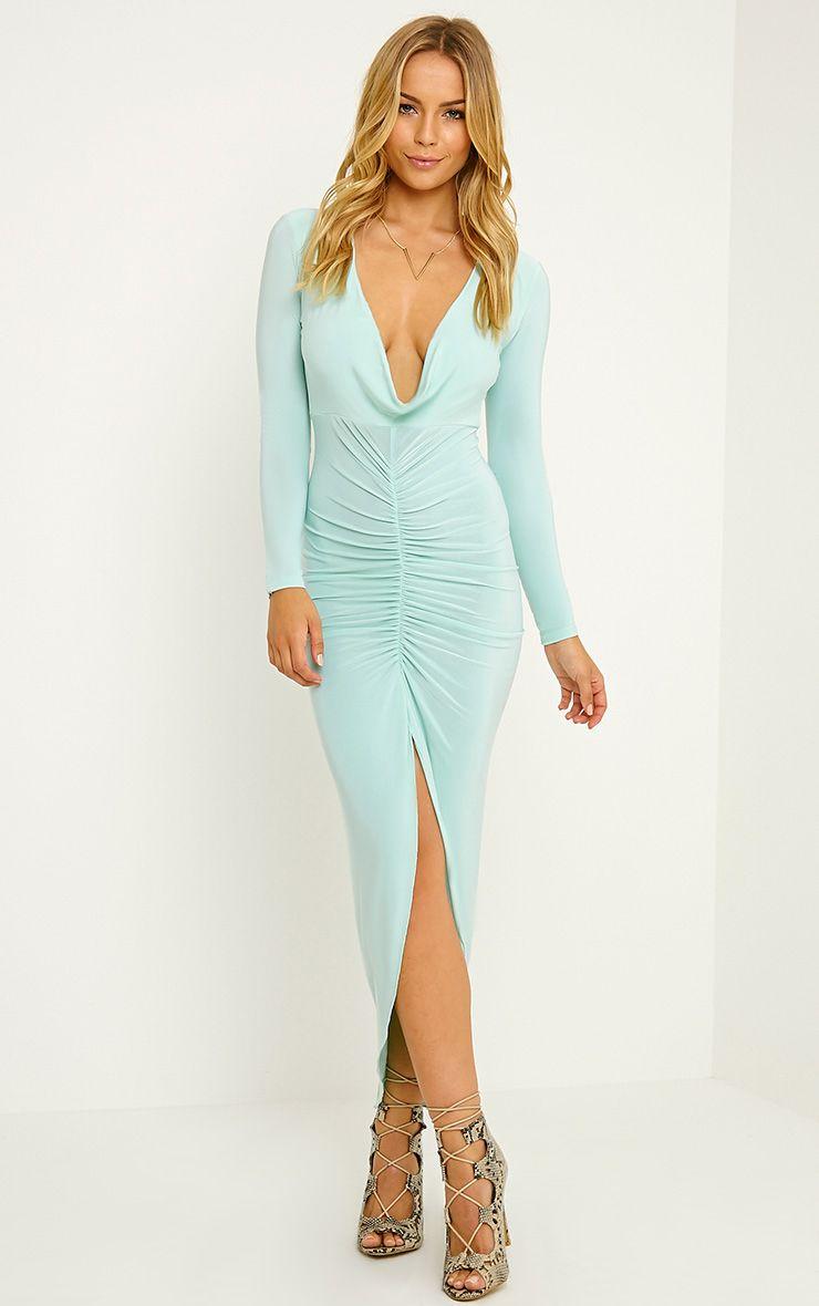 Ellie Mint Slinky Ruched Maxi Dress 1