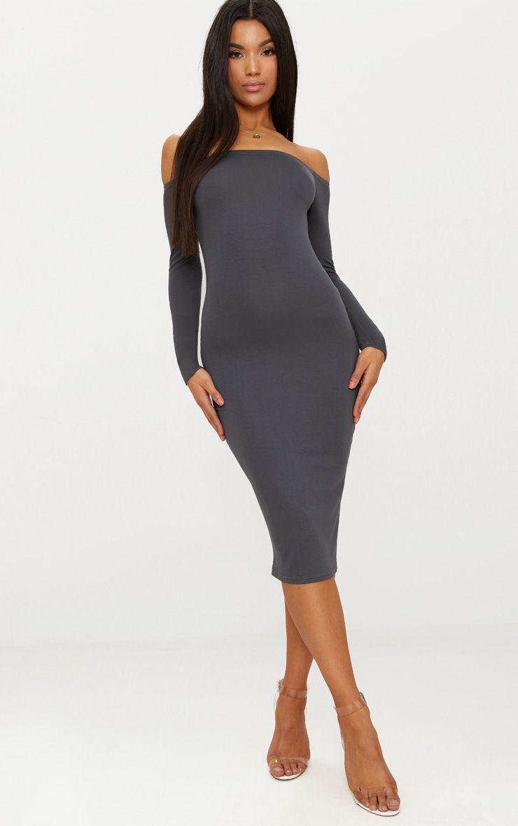 Basic Charcoal Grey Jersey Bardot Midi Dress