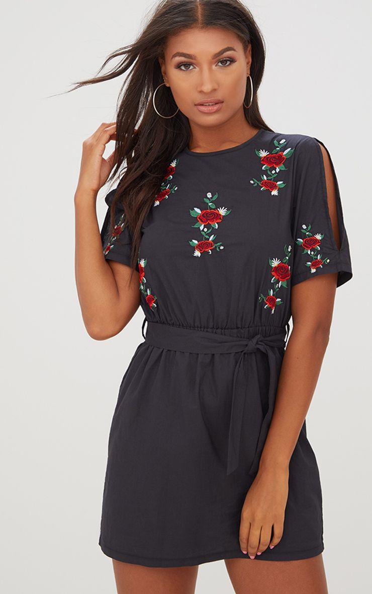 Black Embroidered Floral Detail Cold Shoulder Shift Dress