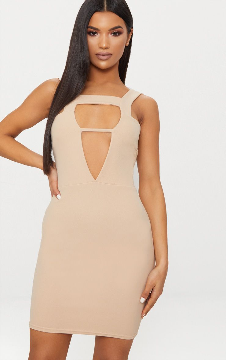 Stone Strappy Detail Plunge Bodycon Dress