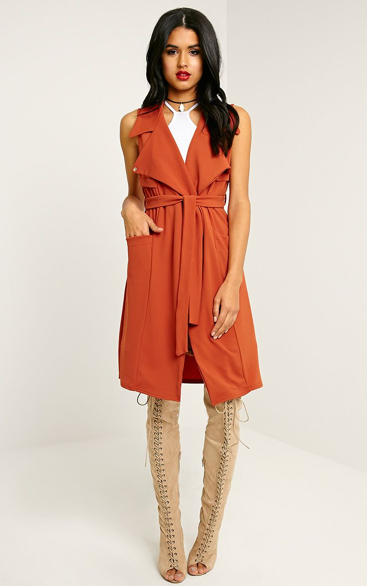 Tegan Rust Sleeveless Duster Jacket 1