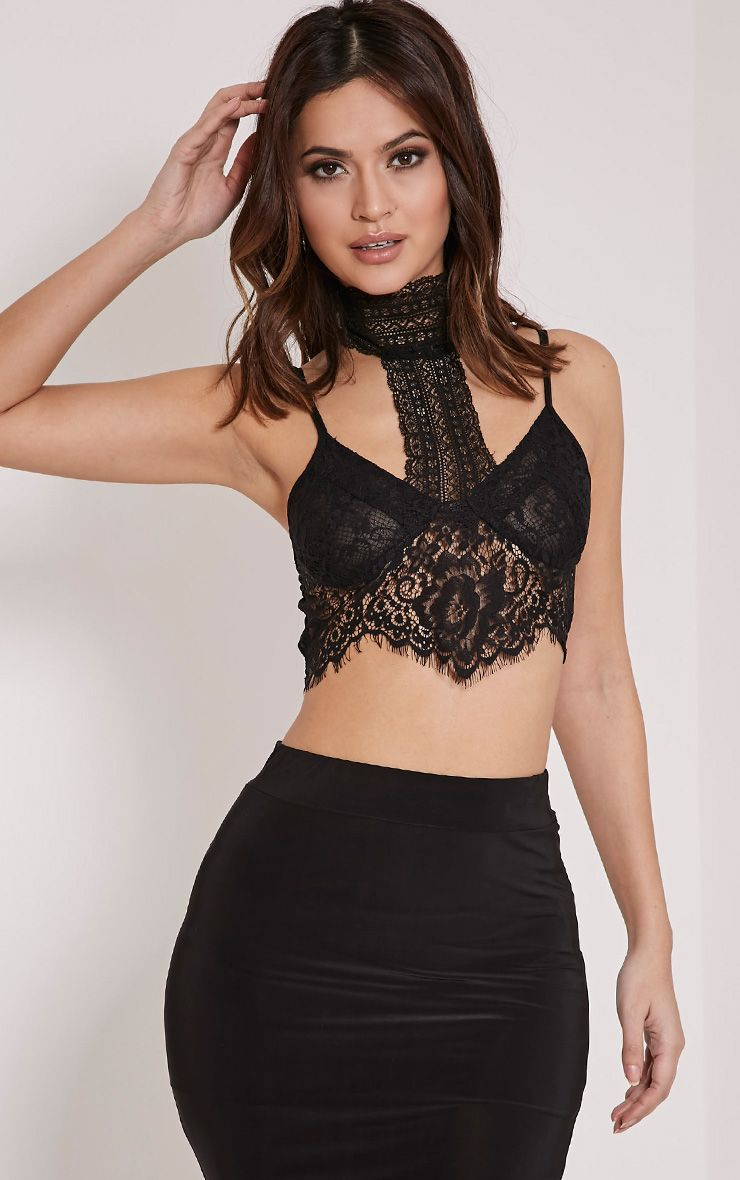 Conny Black Halterneck Lace Bralet