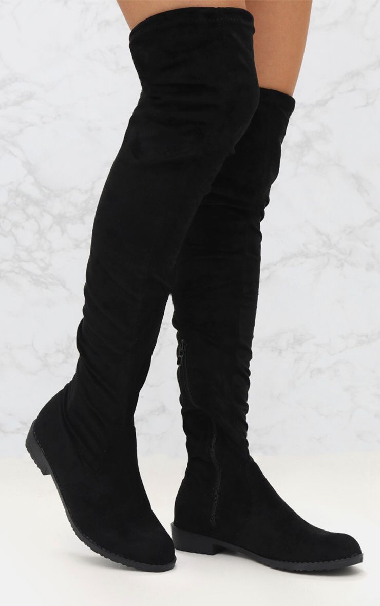 Black Faux Suede Flat Thigh High Boot
