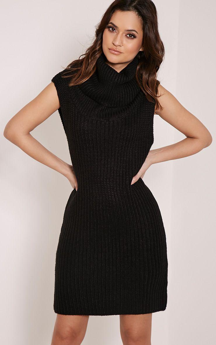 Kadence Black Roll Neck Jumper Dress 1