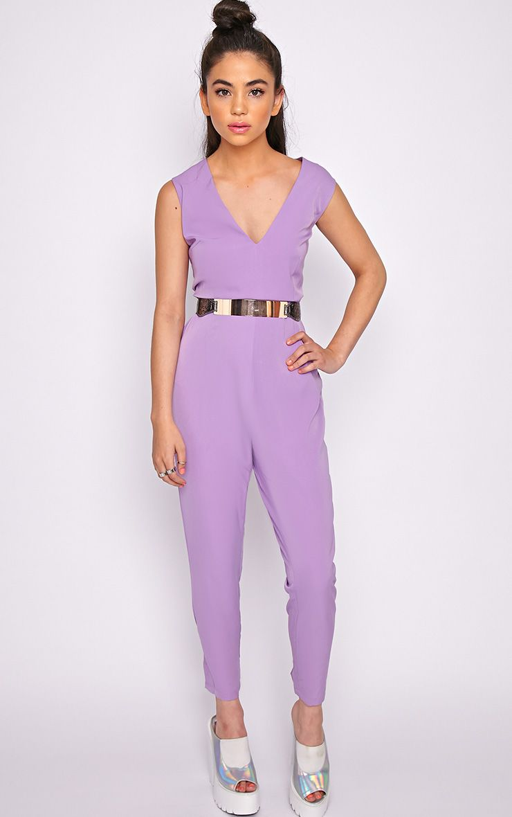 Skye Purple V Front Tailored Jumpsuit  1
