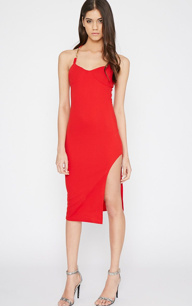 Tyler Red Chain Strap Bodycon Dress 1