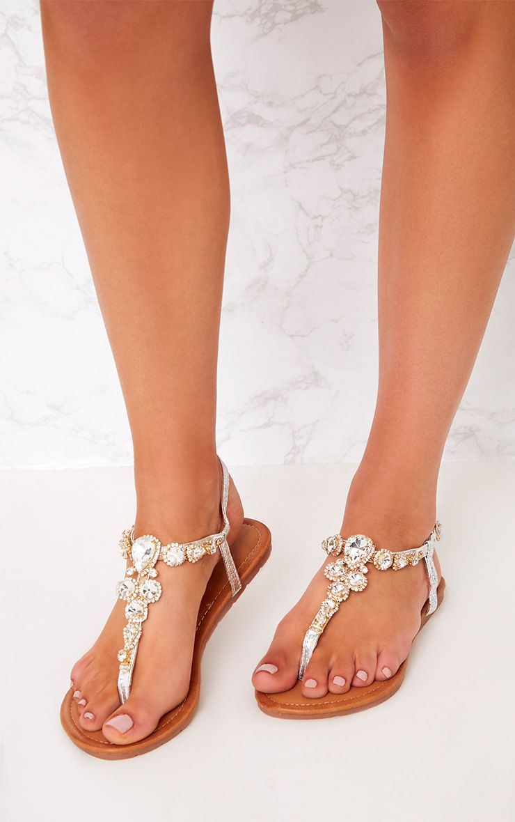 Adela Silver Jewelled Sandals 1