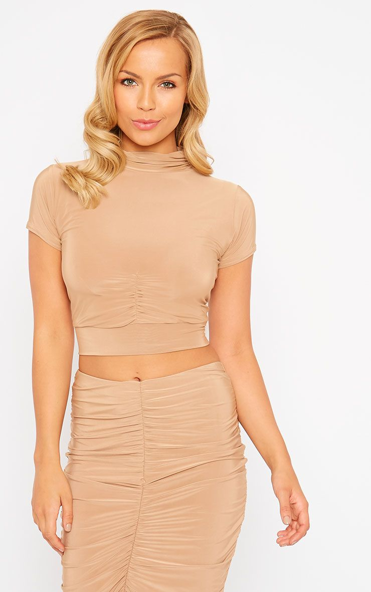 Gina Camel Slinky Ruched Detail Crop Top 1