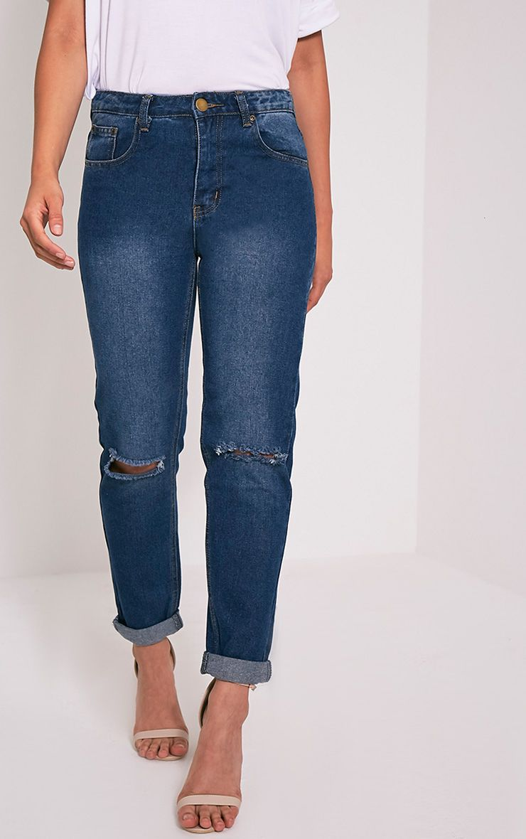 Kourtney Dark Wash Knee Rip Boyfriend Jean