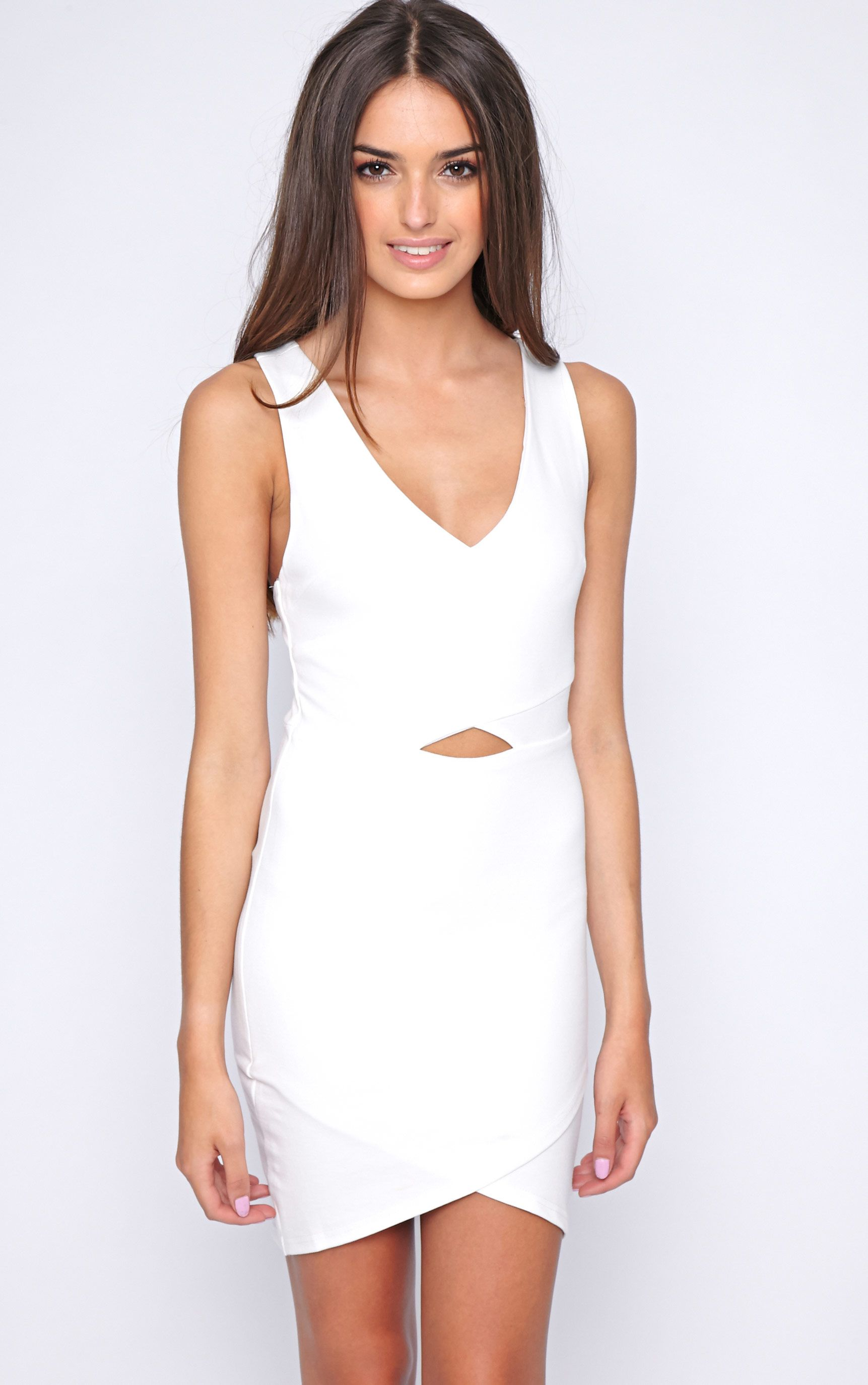 Tulsi White Crossover Mini Dress 1