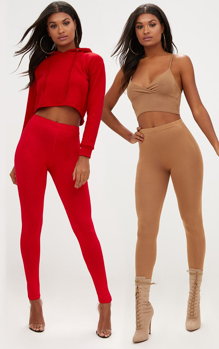 Basic Red and Camel Jersey Leggings 2 Pack