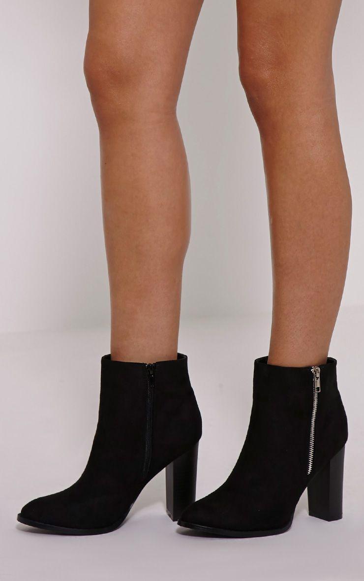 Jemma Black Faux Suede Zip Ankle Boot 1