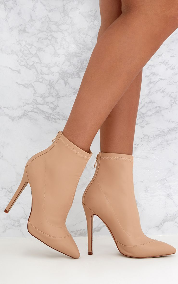 Cream PU Pointed Ankle Sock Boots