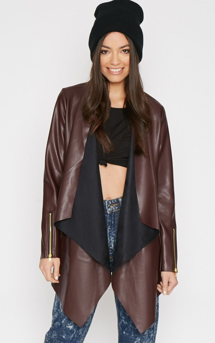 Trudy Wine Leather Waterfall Jacket  1