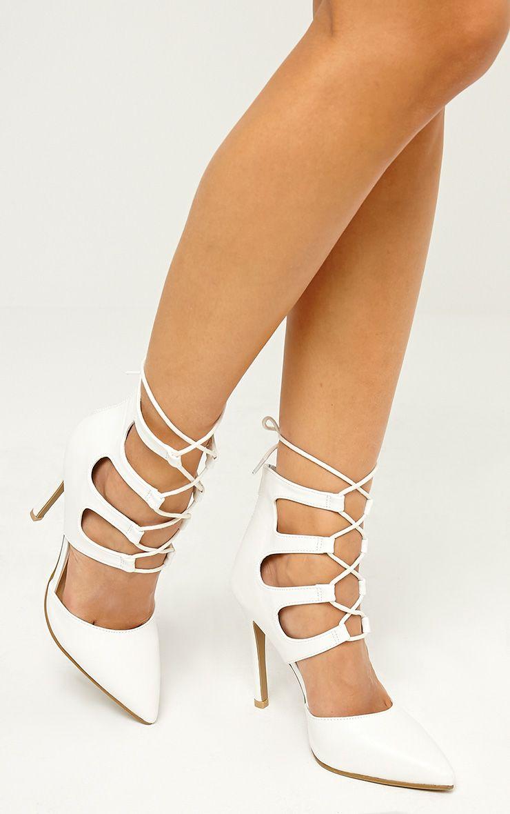 Lydia White PU Lace Up Heeled Sandals 1