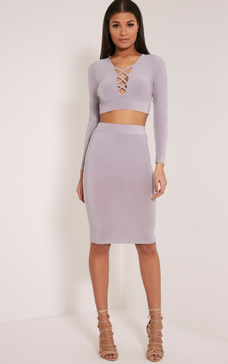 Malin Grey Slinky Midi Skirt 1