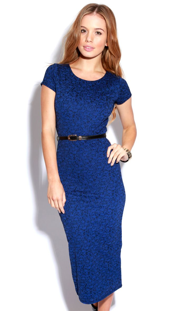 Paige Blue Flock Pattern Midi Dress 1