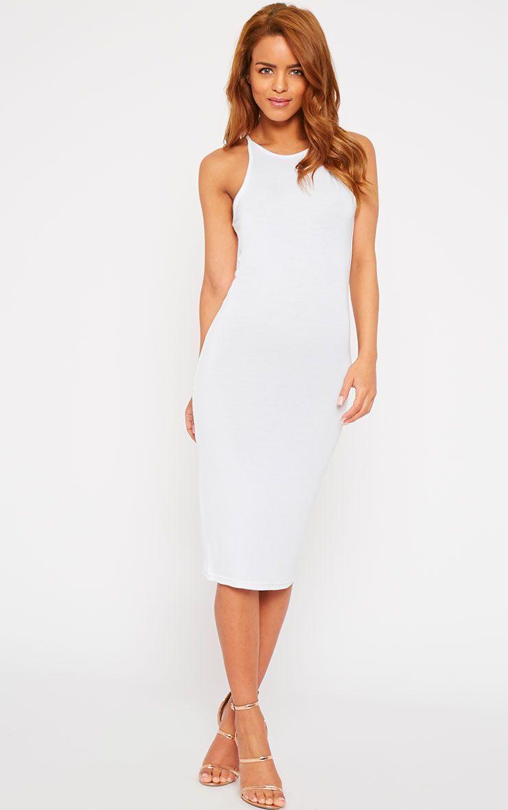 Natasha White Thin Strap Racer Neck Jersey Midi Dress 1