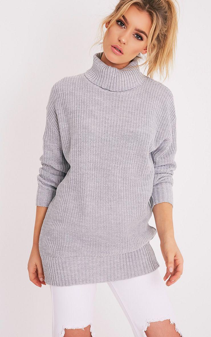 Zora Grey Oversized Turtle Neck Knitted Jumper 1