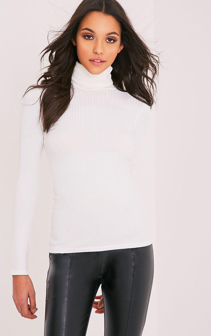 Rheta Cream Ribbed Polo Neck Top