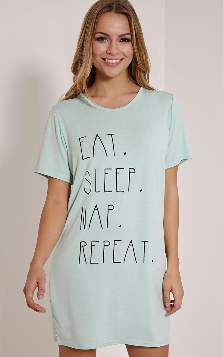 Eat Sleep Nap Repeat Mint Oversized Nightshirt 1