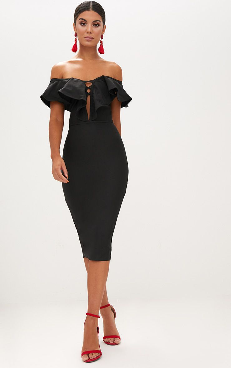 Black Bardot Frill Lattice Detail Midi Dress
