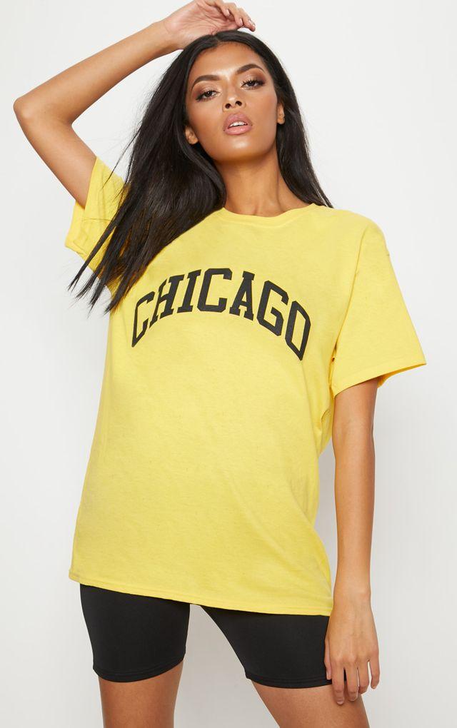 Yellow Chicago Slogan Oversized T Shirt