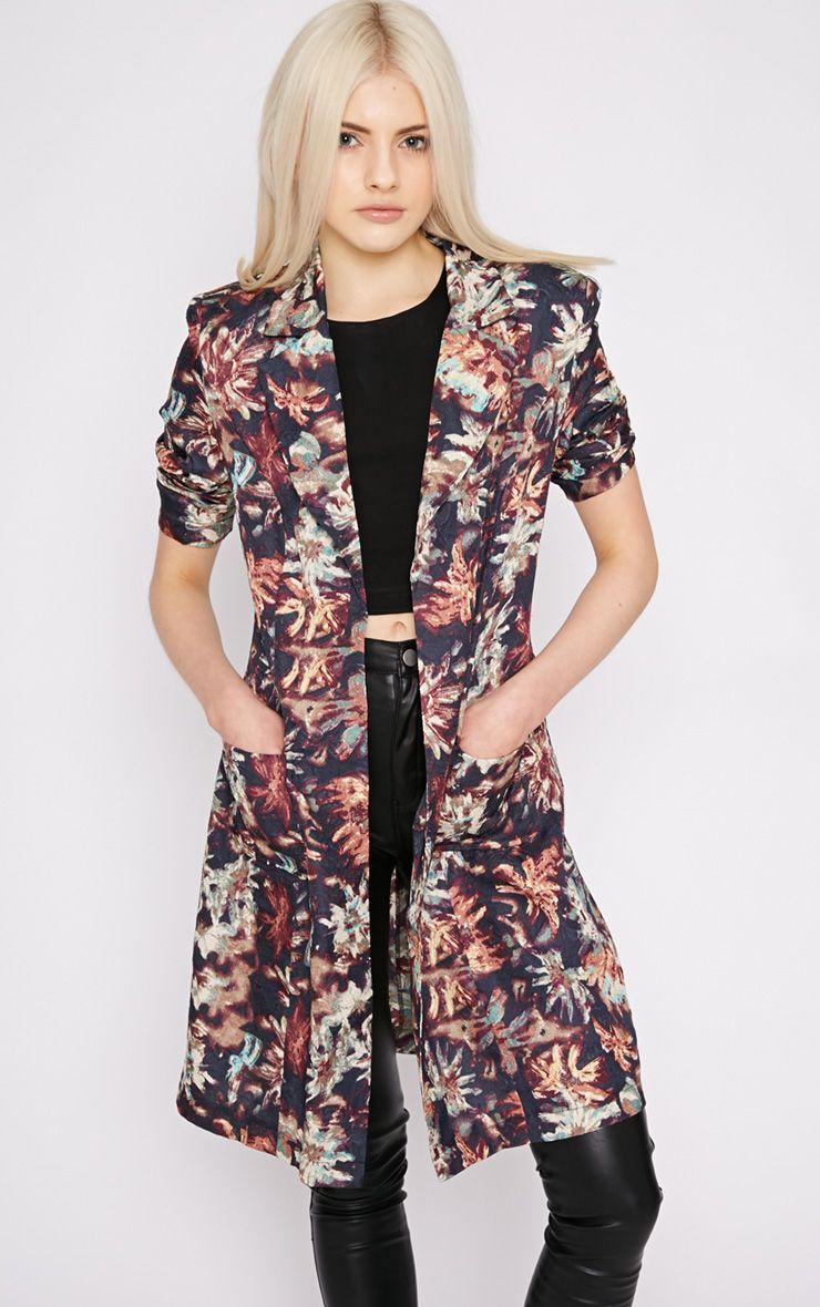 Patti Navy Floral Print Duster Jacket  1