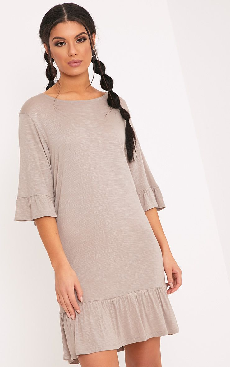 Manuliaa Taupe Jersey Frill Hem Shift Dress