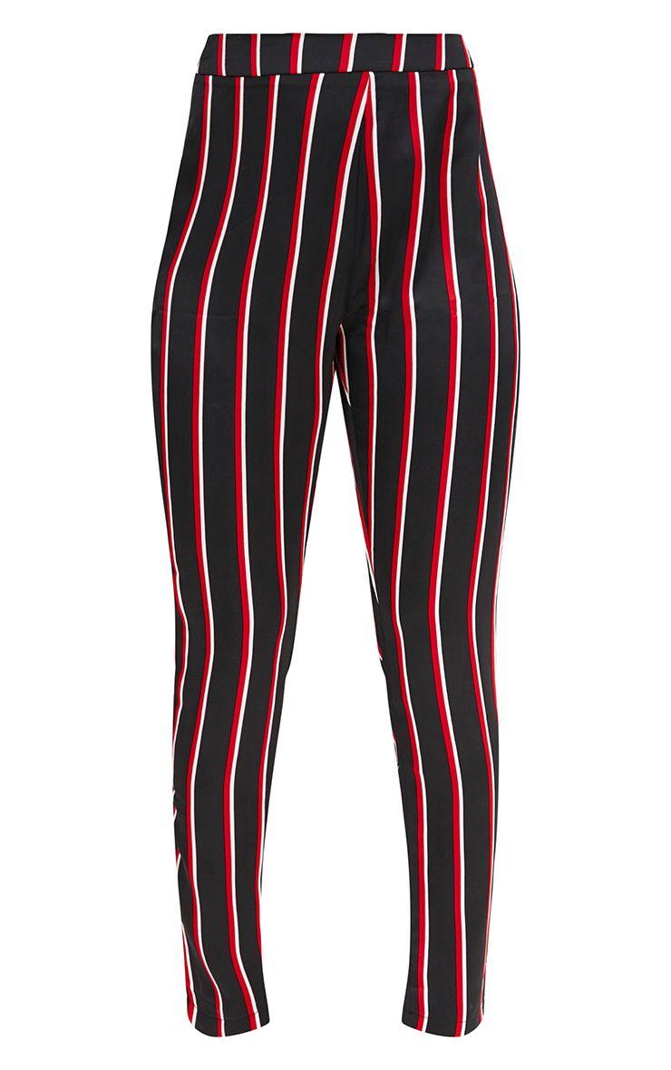 pantalon carotte en satin noir rayures pantalons. Black Bedroom Furniture Sets. Home Design Ideas
