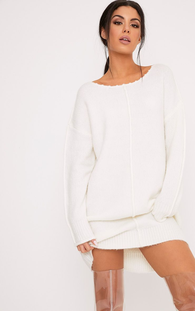 Selah Cream Oversized Seam Detail Brushed Jumper Dress