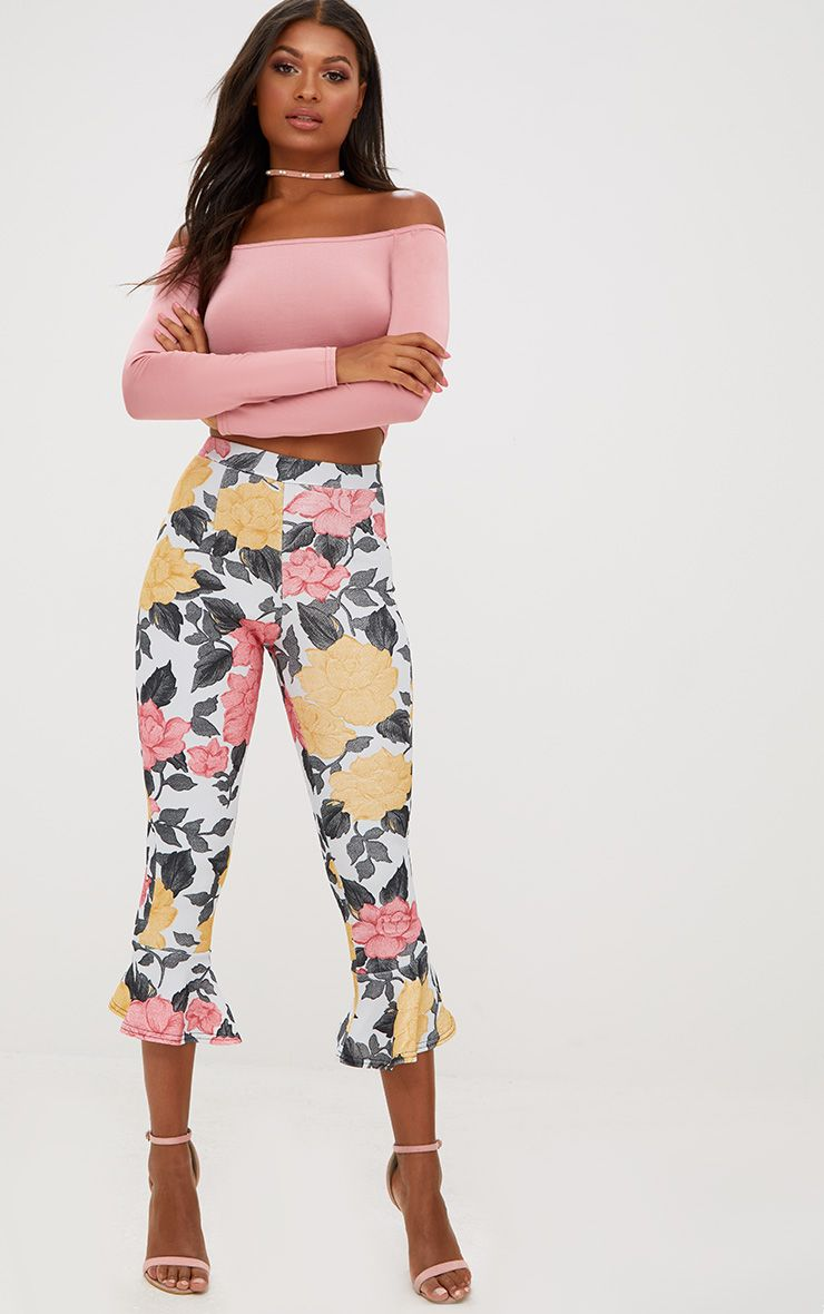 Grey Large Floral Flare Hem Trousers