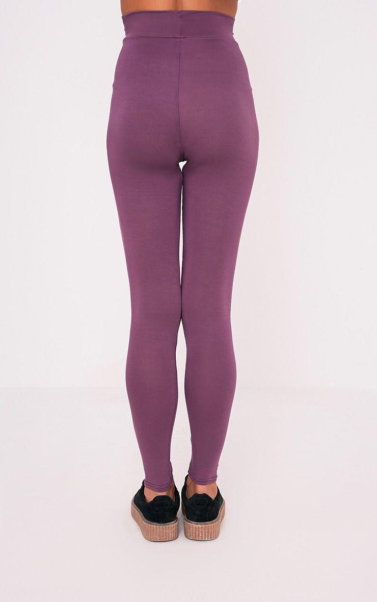 Basic legging aubergine taille haute en jersey 5
