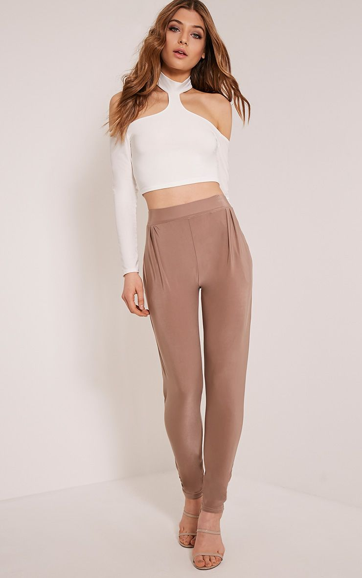 Rinda Taupe Slinky High Waisted Peg Trousers  1