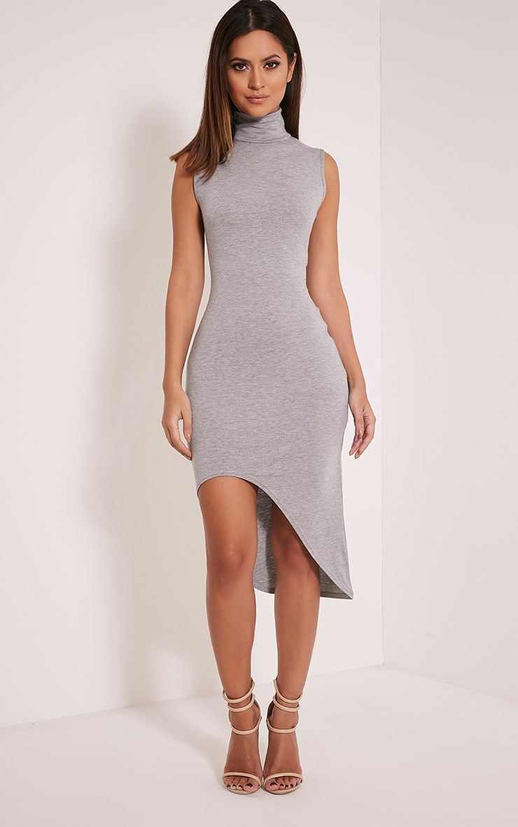 Pennie Grey Marl Curved Hem Sleeveless Midi Dress 1