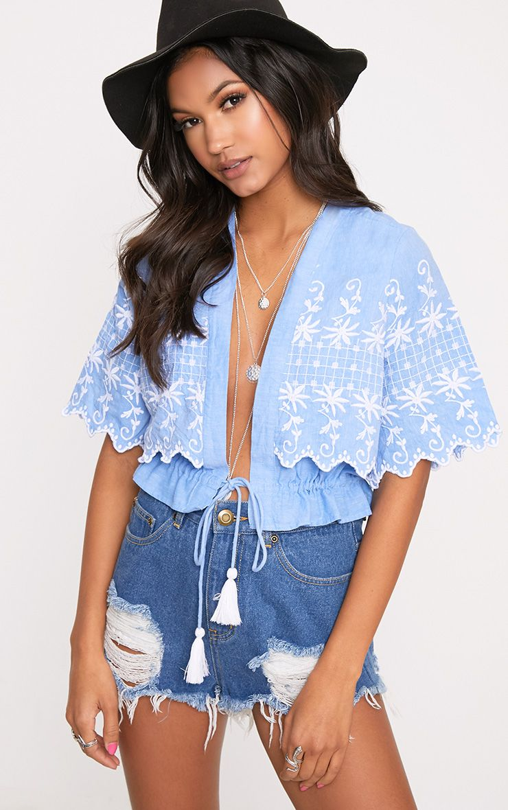 Nylla Blue Chambray Embroidered Tassel Shirt