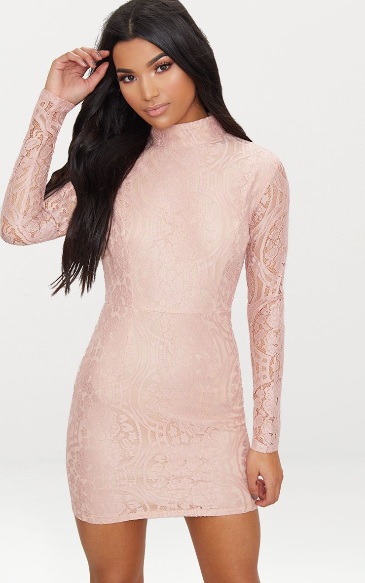 Dusty Pink High Neck Long Sleeve Lace Bodycon Dress