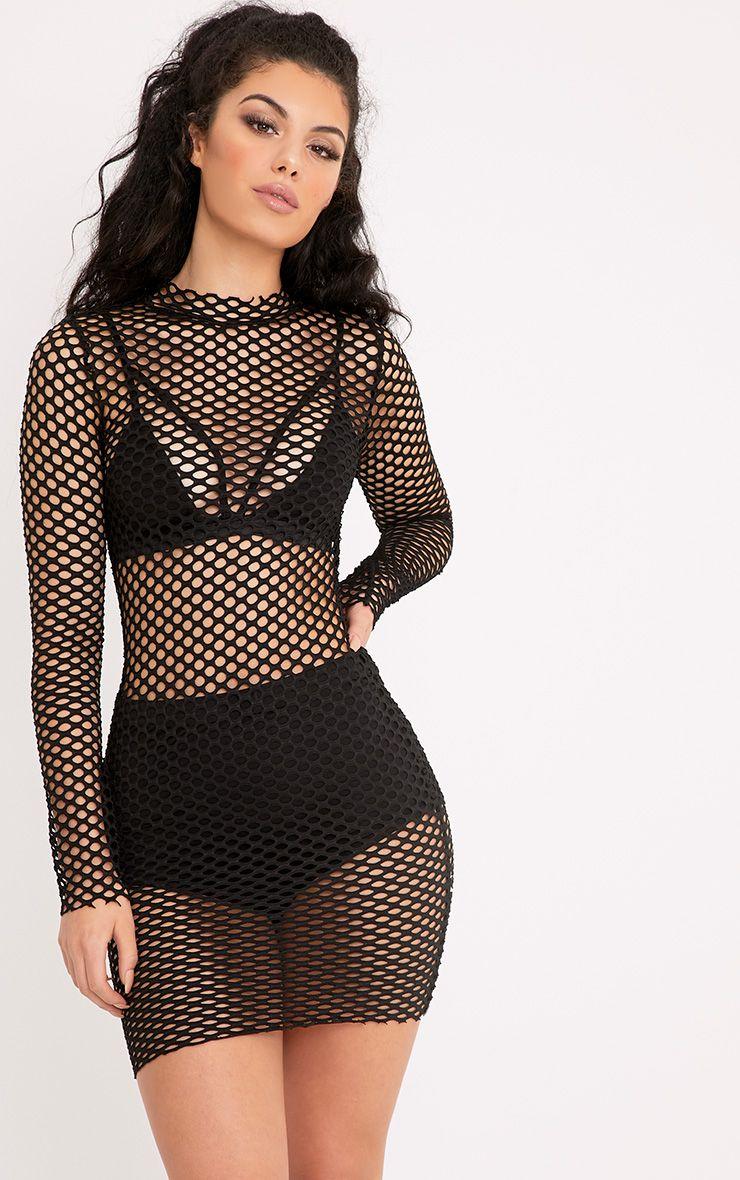 Izzie Black Fishnet Bodycon Dress