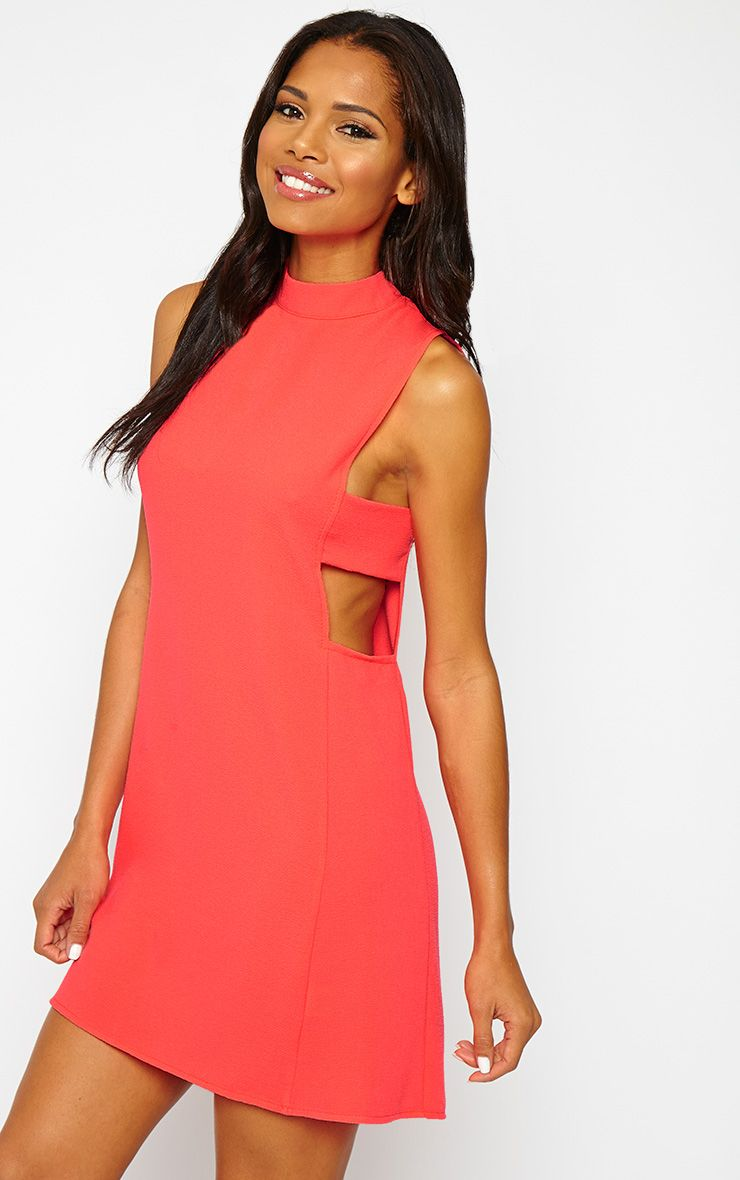 Rina Neon Pink Cut Out Tabard Dress 1
