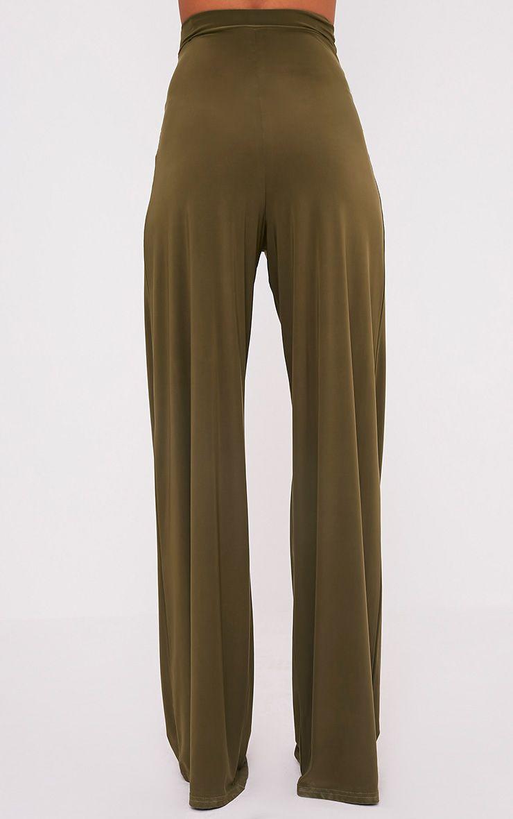 Jill Khaki Slinky Palazzo Trousers 5