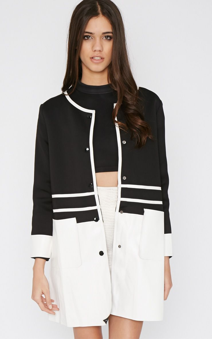 Sylvia Monochrome Leather Panel Coat  1
